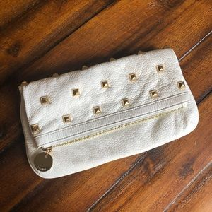 Deux Lux Vegan Leather Cream White Studded Clutch